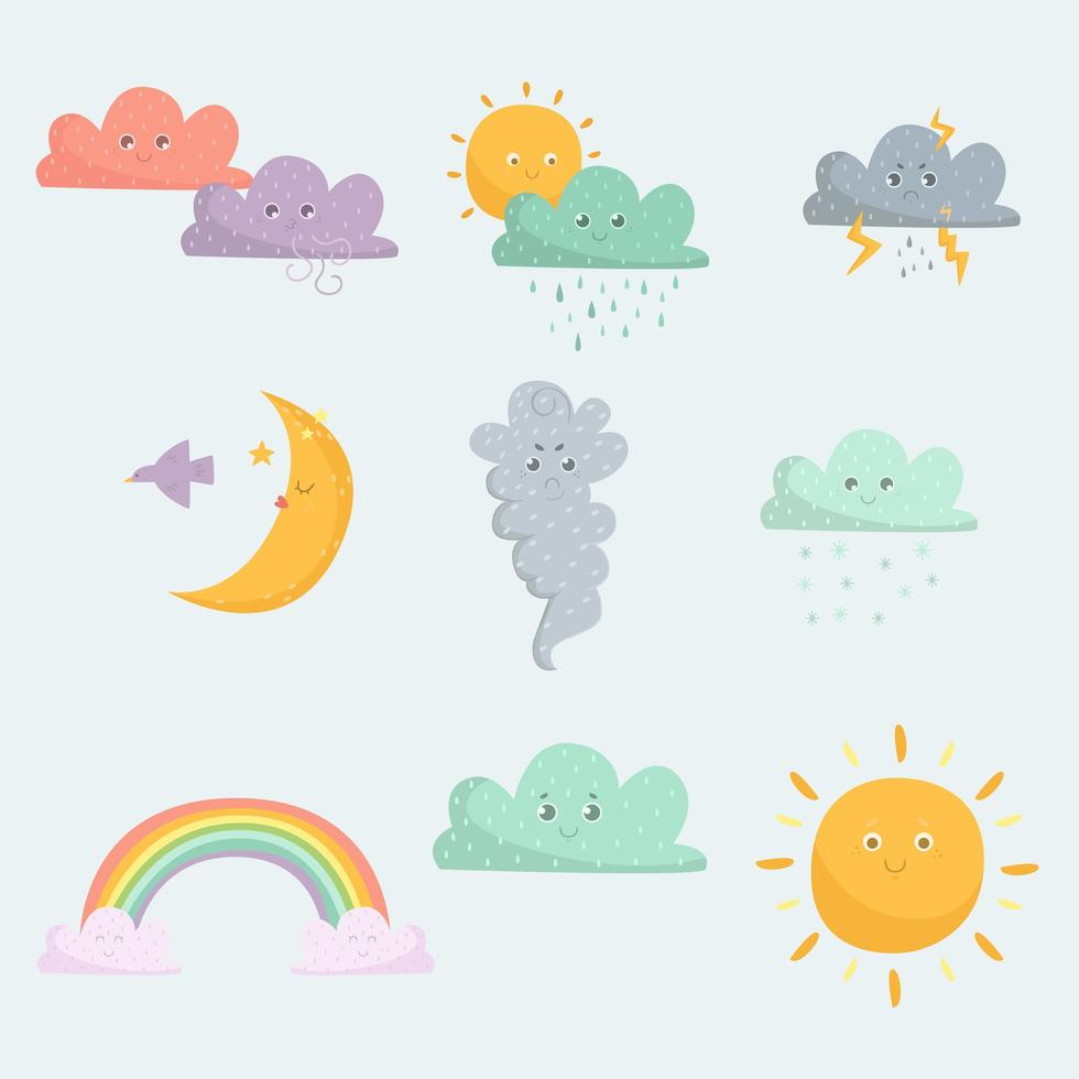 set di icone emoticon meteo vettore