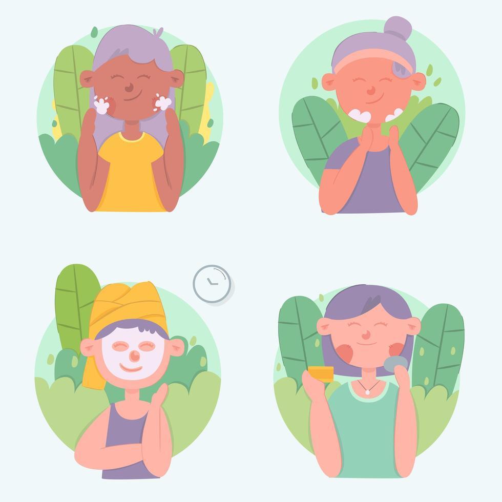donne che fanno set di routine per la cura della pelle vettore