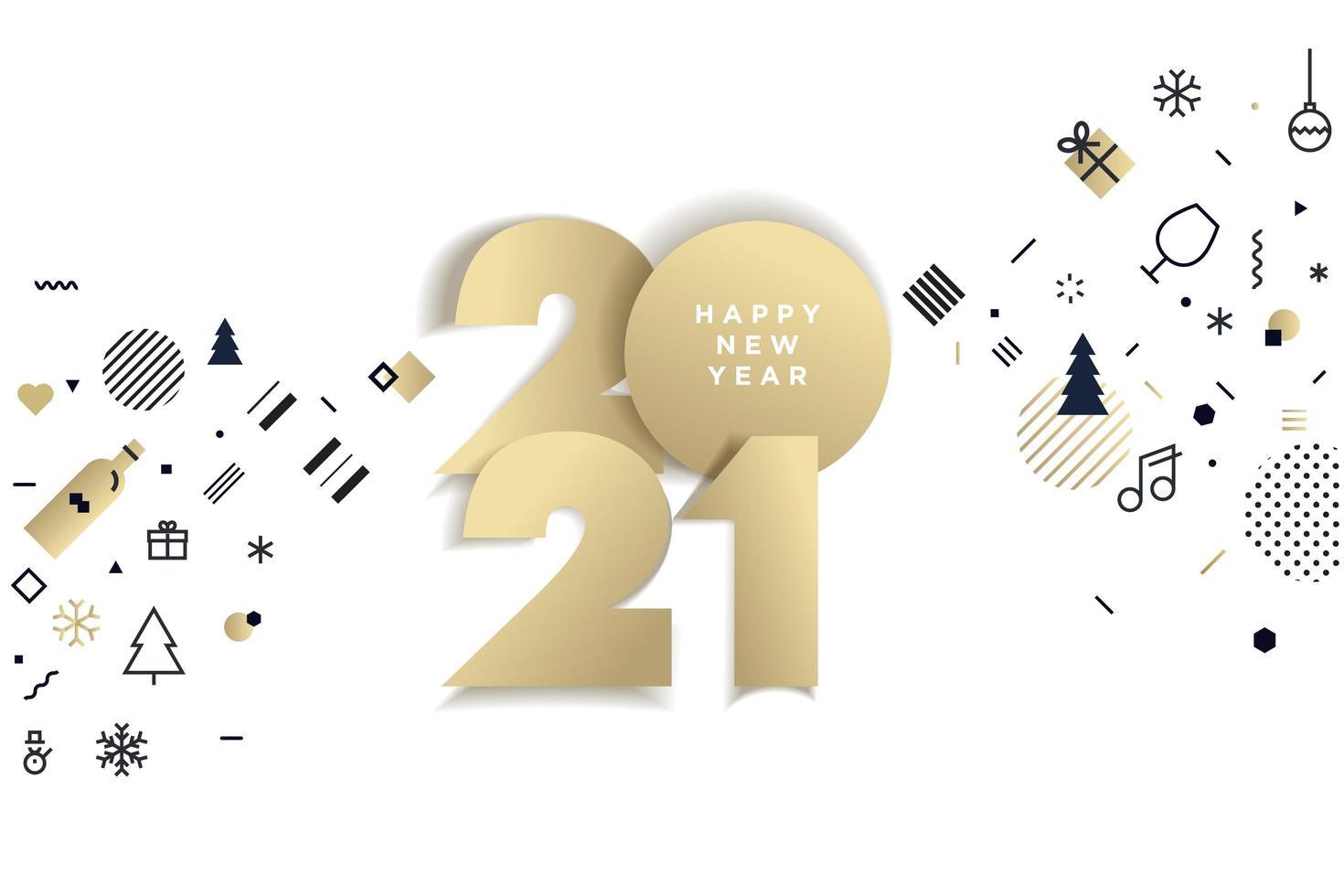 progettazione e icone di festa di arte di carta dorata 2021 vettore