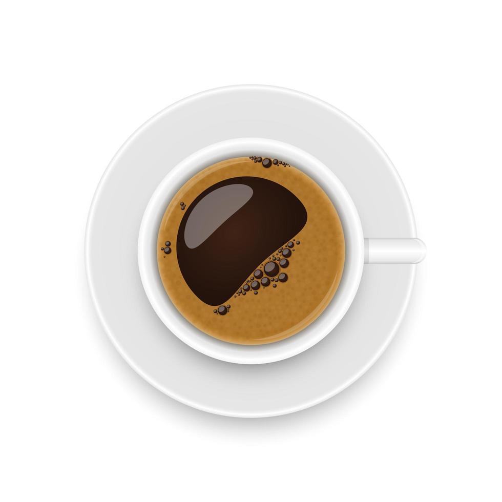 vista dall'alto della tazza di caffè vettore