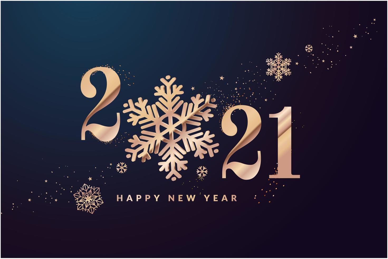 felice anno nuovo design dorato 2021 con fiocchi di neve vettore