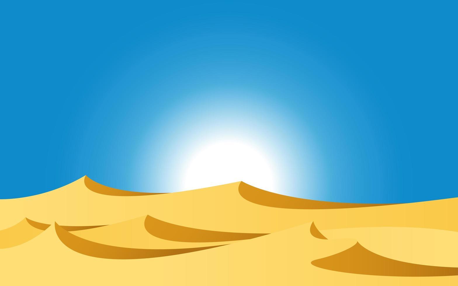 paesaggio desertico con sole splendente vettore
