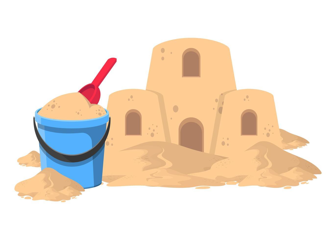 secchio con sabbia e castello di sabbia vettore
