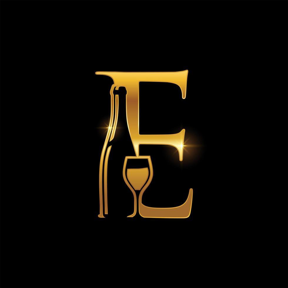 emblema della lettera e della bottiglia di vino e di vetro dorato vettore