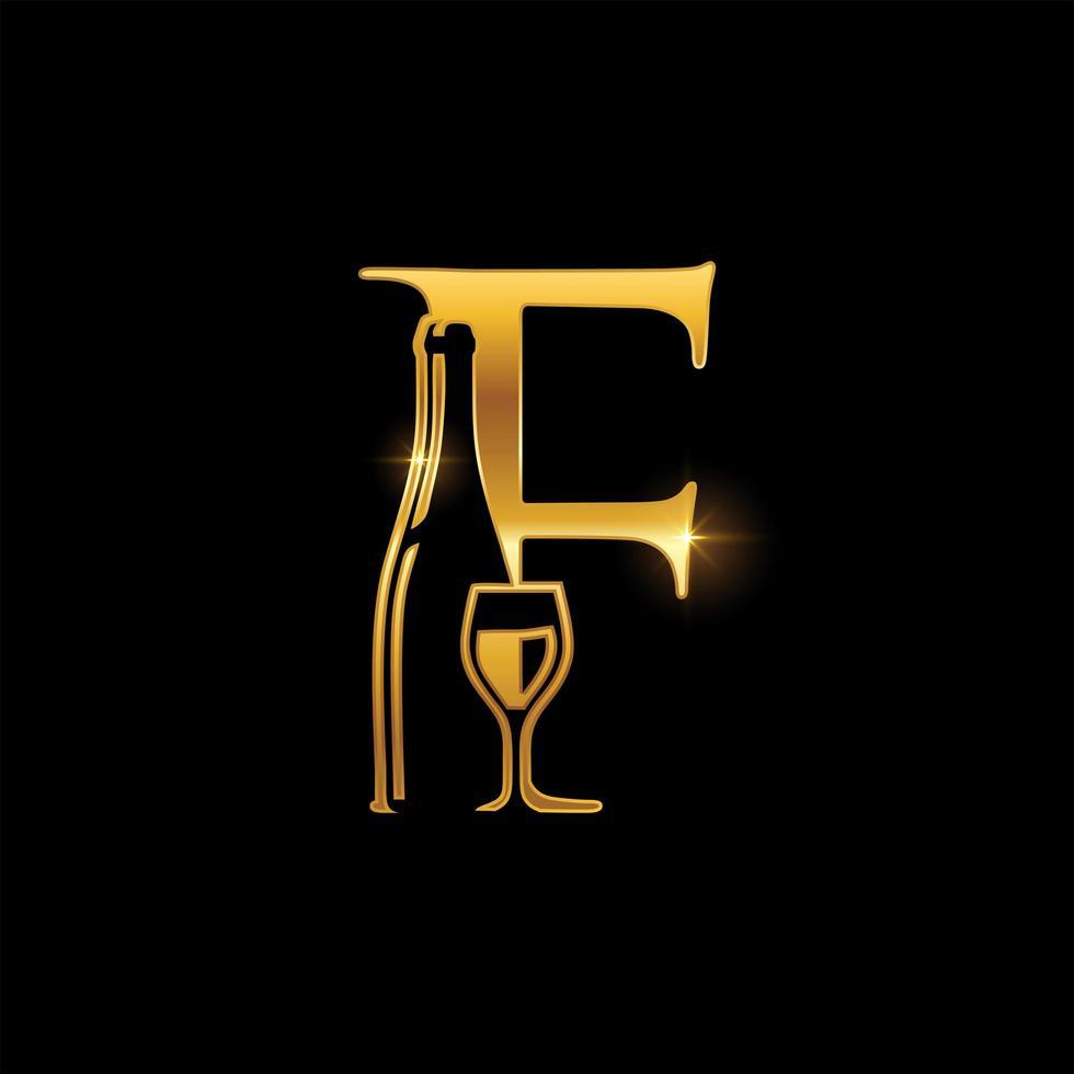 emblema della lettera f in vetro dorato e bottiglia di vino vettore