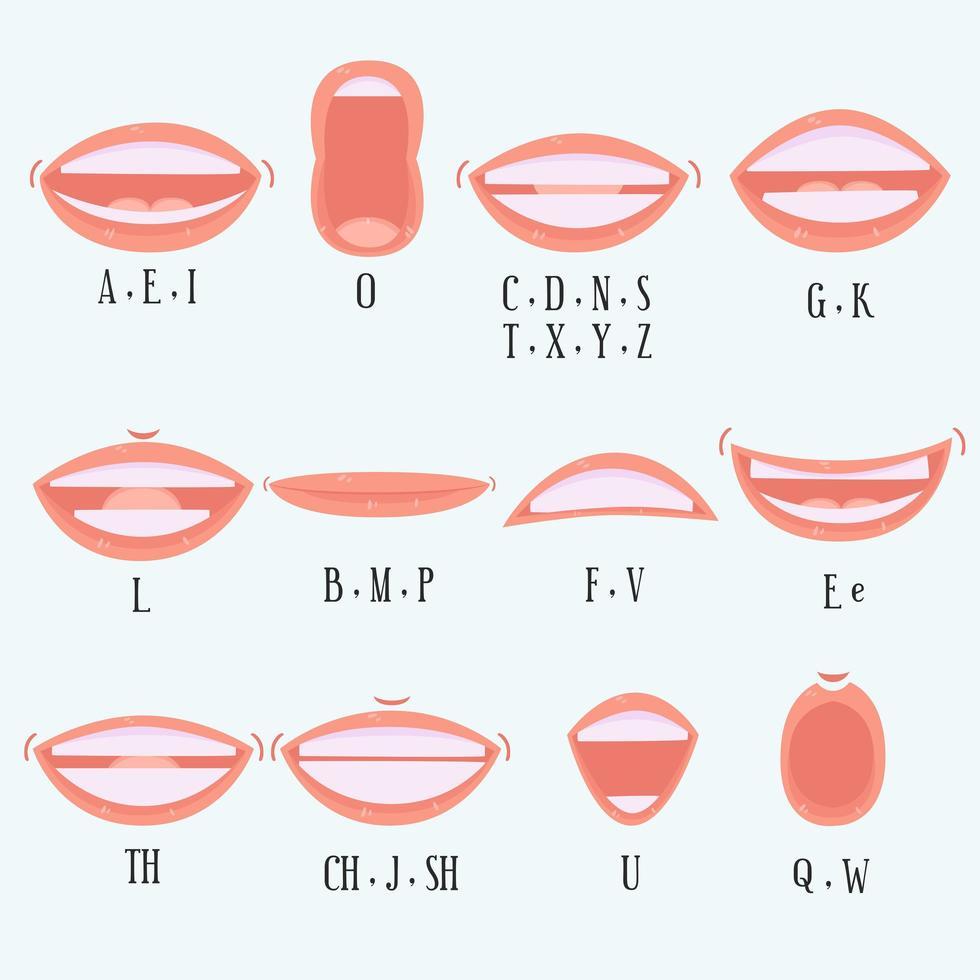 collezione bocca alfabeto in stile cartone animato vettore
