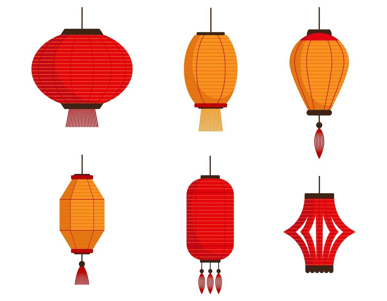 set di diverse lanterne cinesi vettore