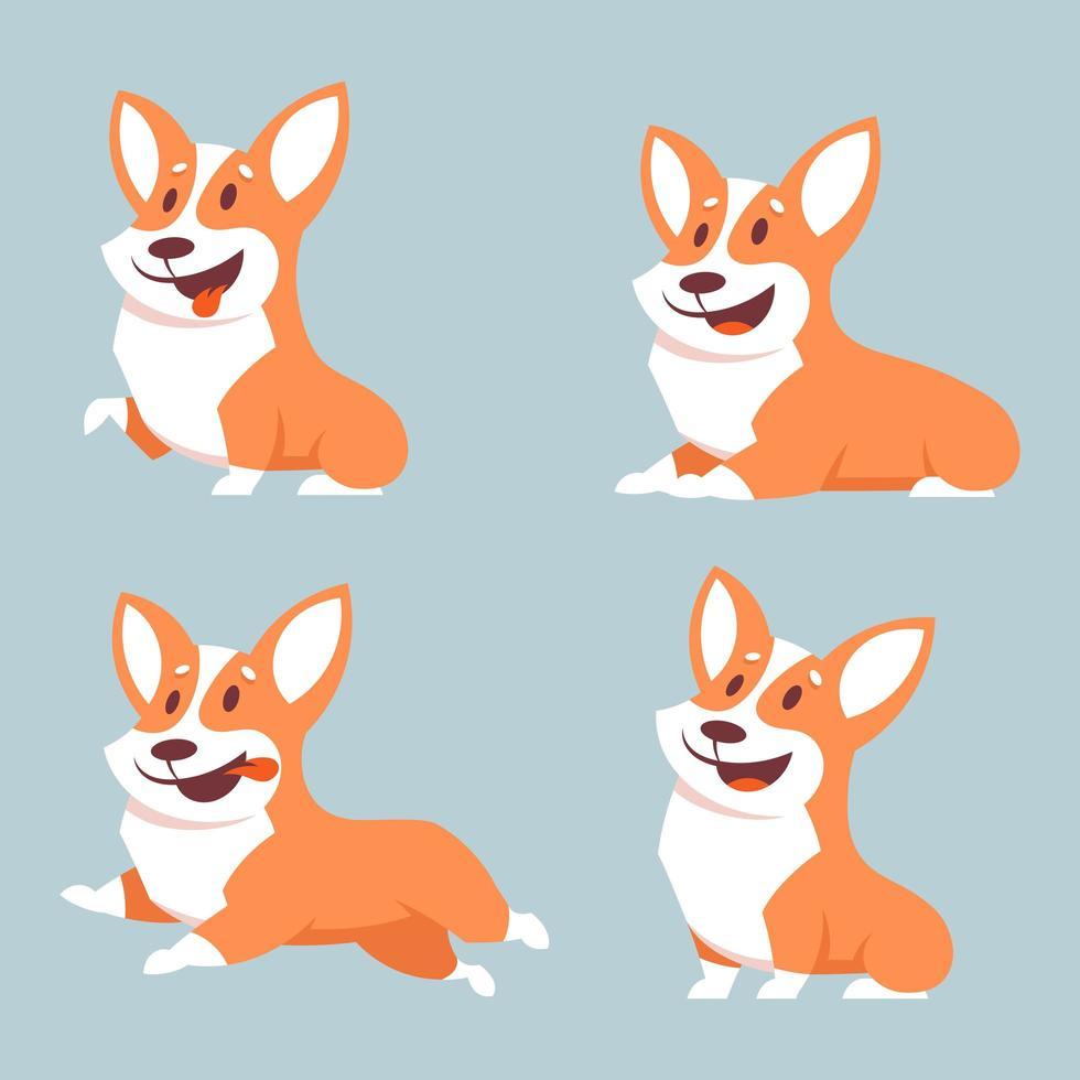 cane corgi in diverse pose vettore