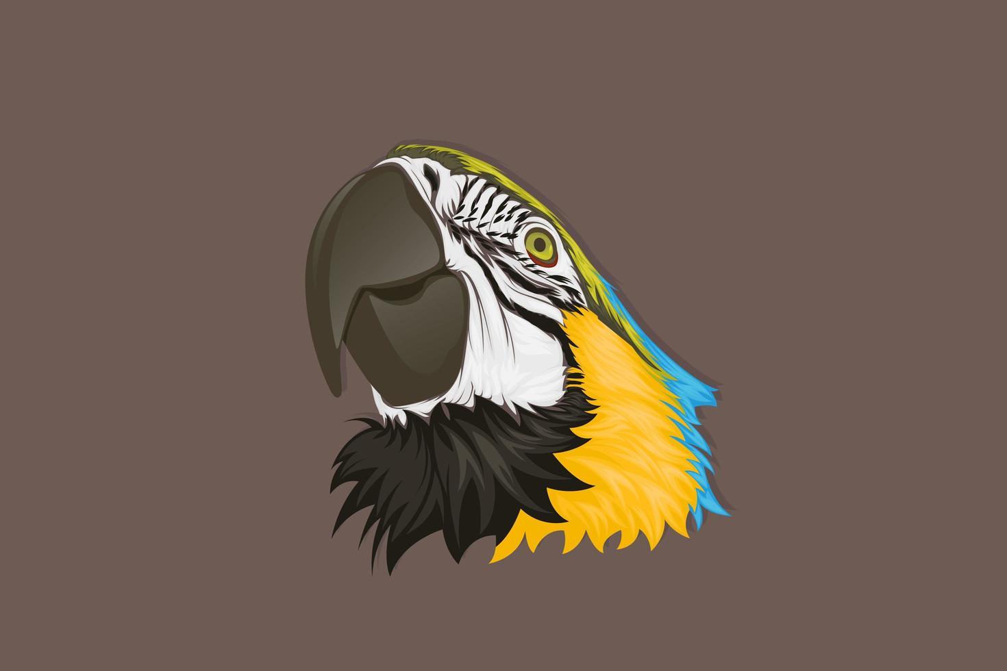 testa di pappagallo blu e giallo realistico vettore