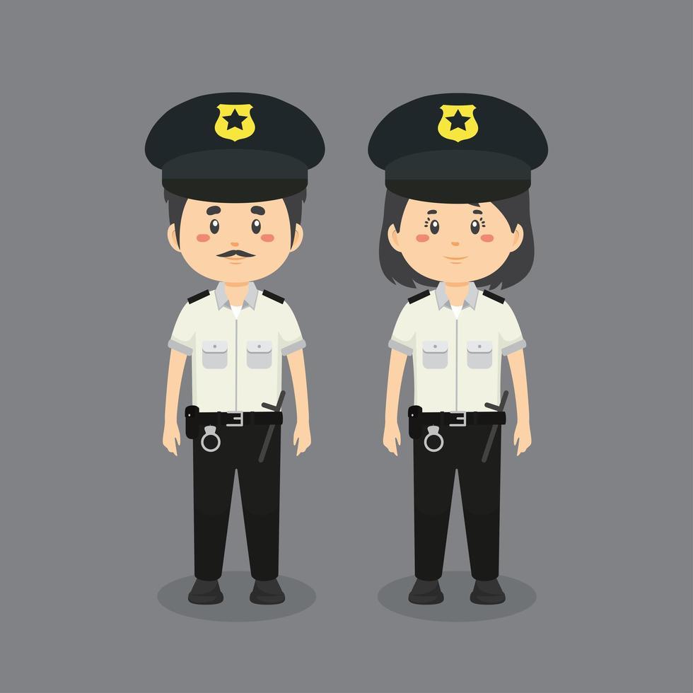 coppia di personaggi che indossano uniformi della polizia vettore