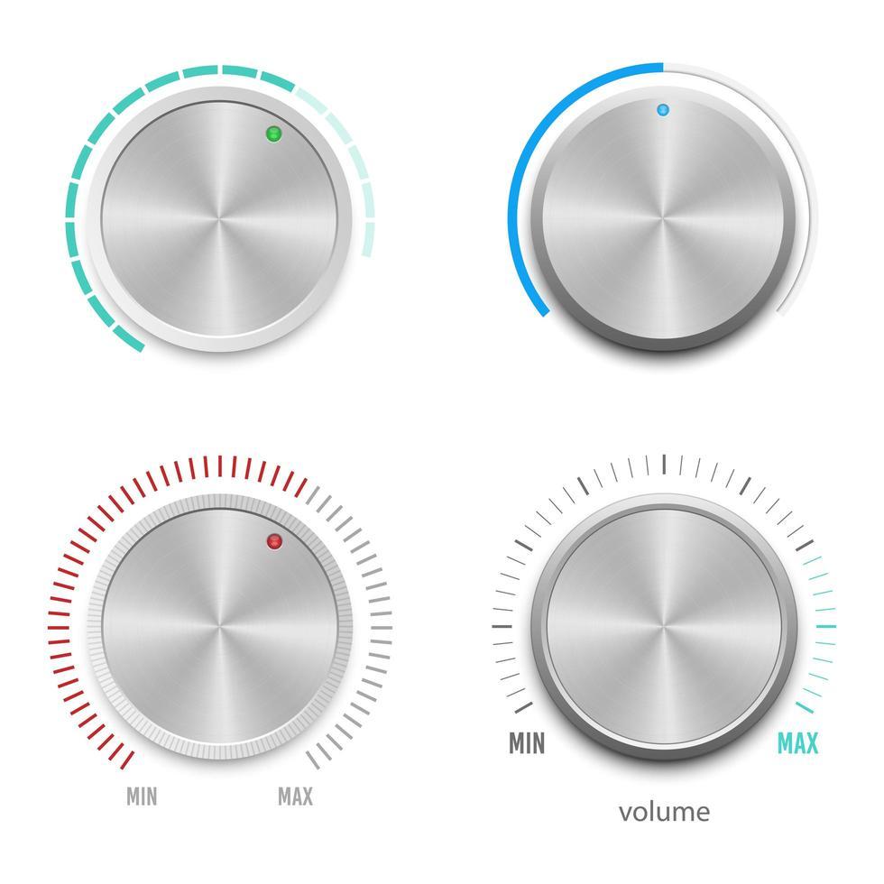 pulsante del volume metallico impostato su bianco vettore