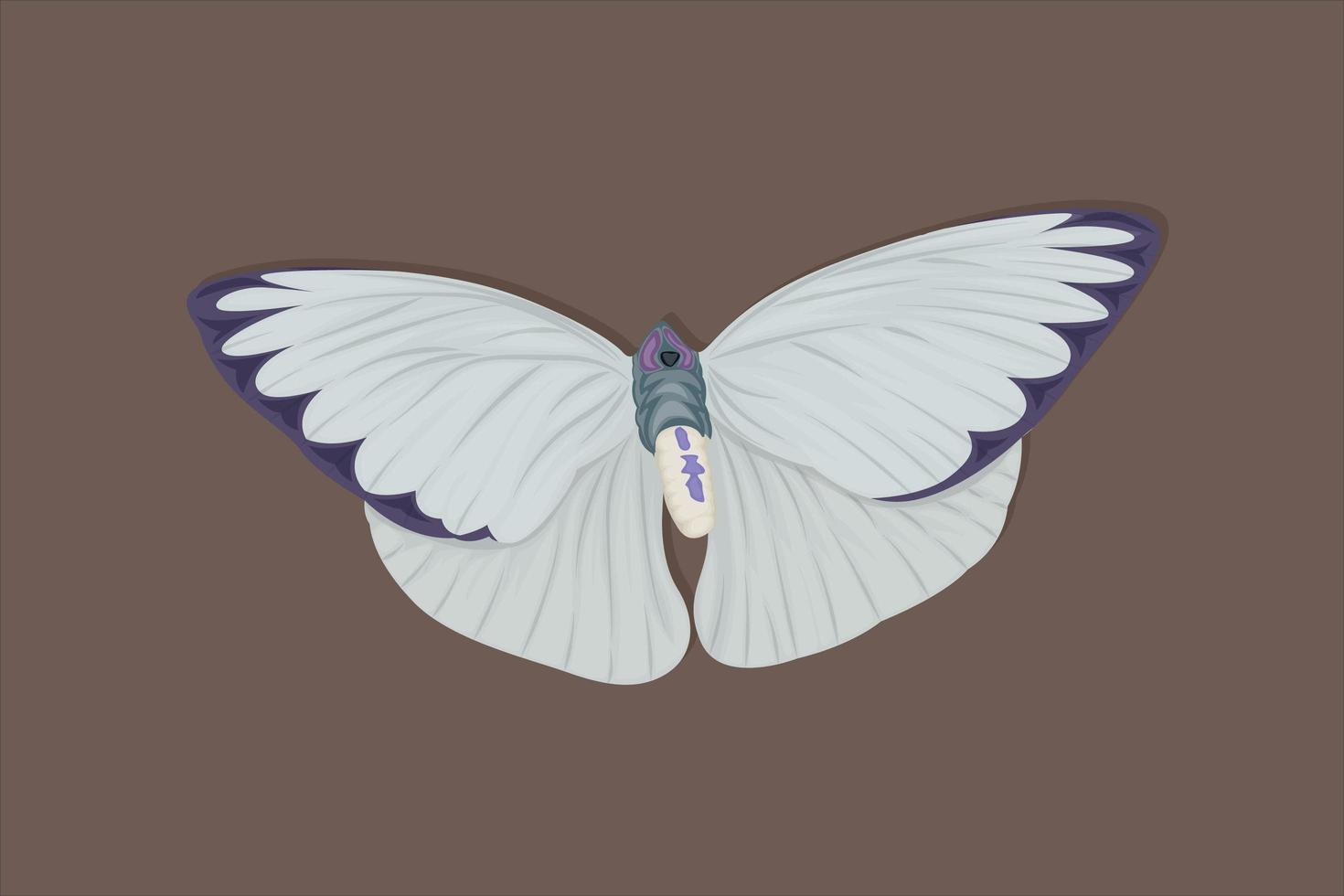 disegno realistico della mano della farfalla bianca e viola vettore