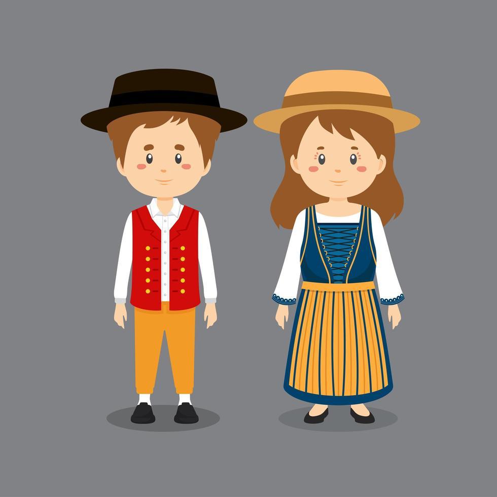 personaggio di coppia che indossa l'abito nazionale svizzero vettore