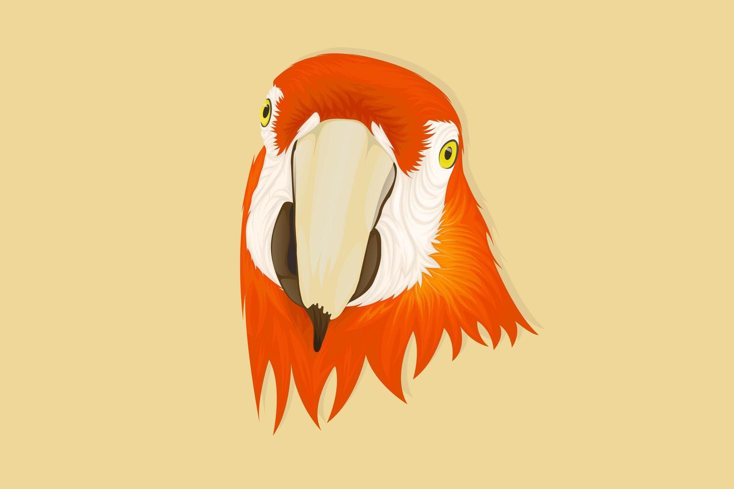 pappagallo rivolto in avanti in stile realistico di disegno a mano vettore