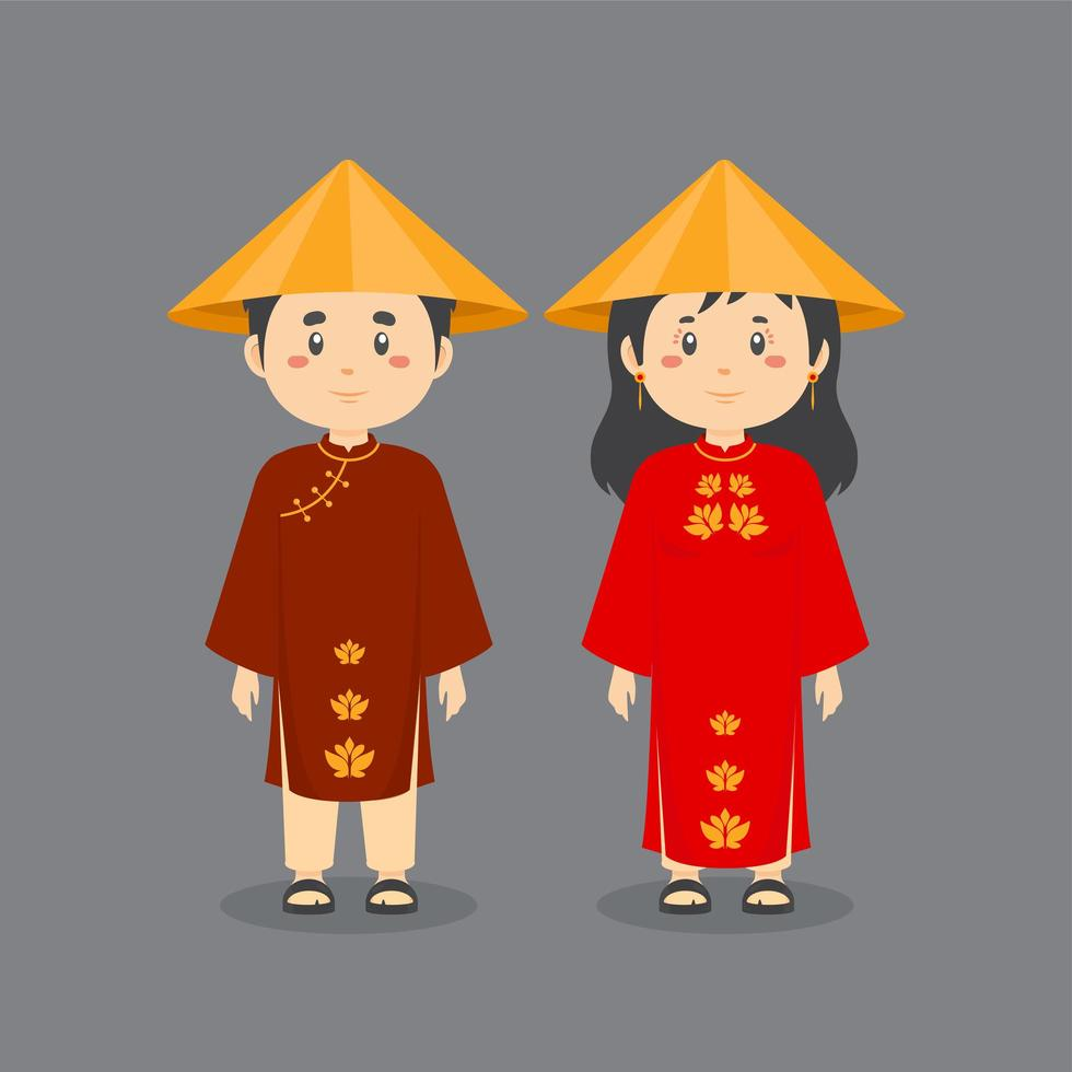 coppia di personaggi che indossano abiti nazionali del vietnam vettore