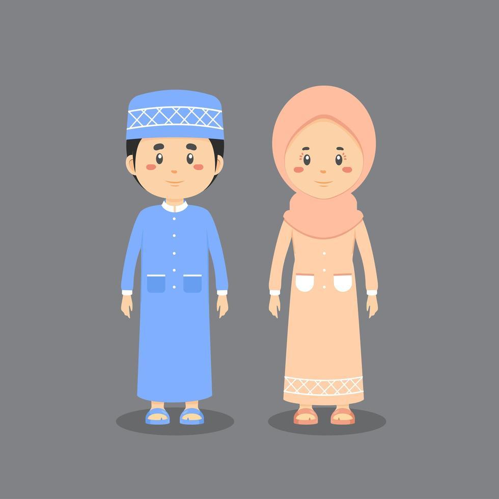 coppia di personaggi che indossano abiti musulmani vettore