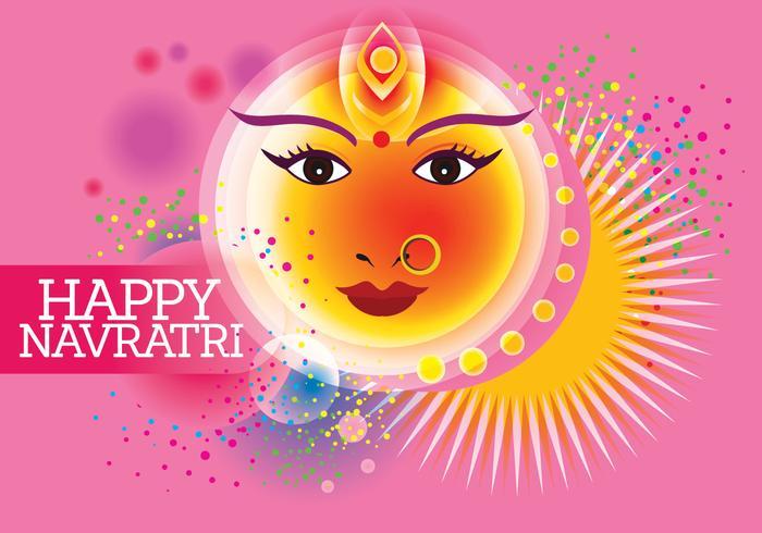 Vettore per Shubh Navratri o Durga Puja con sfondo di colori pastello