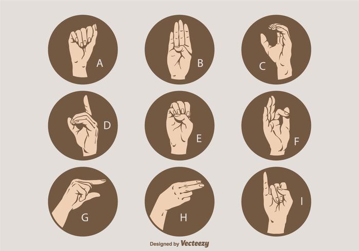 Set di lettere di lingua dei segni vettoriali A - I