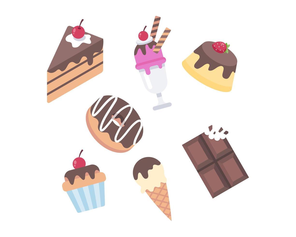 collezione di dolci dessert vettore