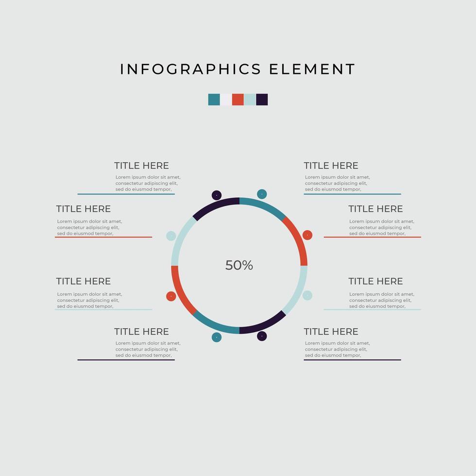 otto passo opzione diagramma circolare infografica vettore