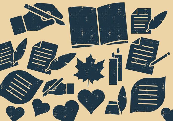 Icone di scrittori e poeti vettore
