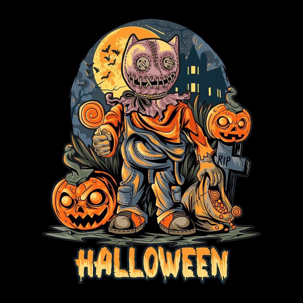 poster spettrale di notte di halloween vettore