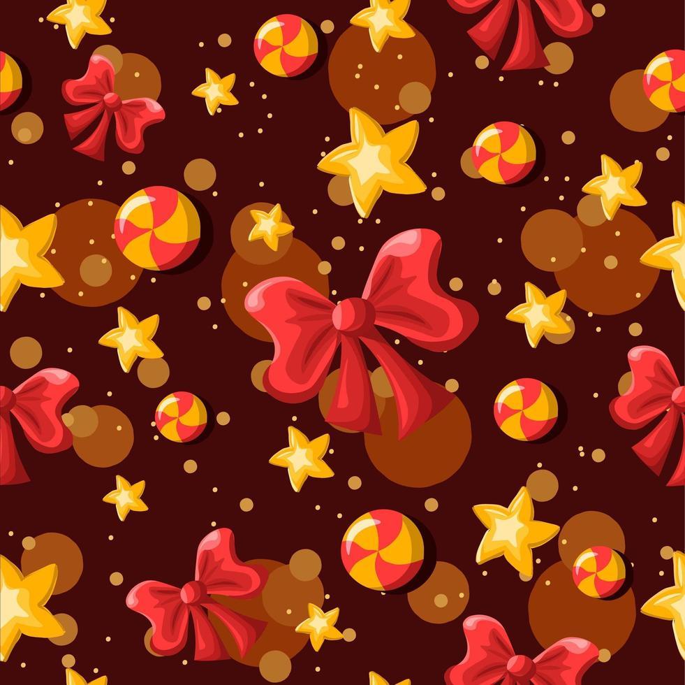 fiocchi, stelle, caramelle ricciolo sfondo ripetitivo vettore