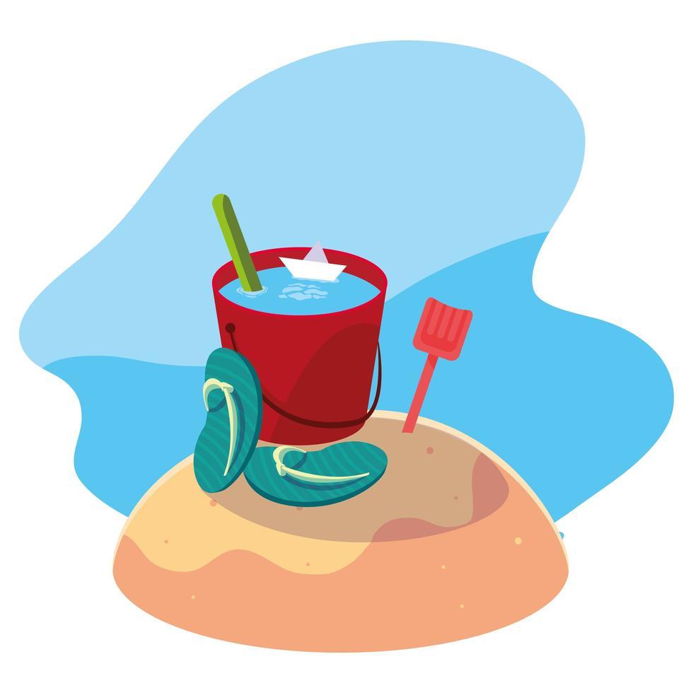 secchio di sabbia sulla spiaggia vettore