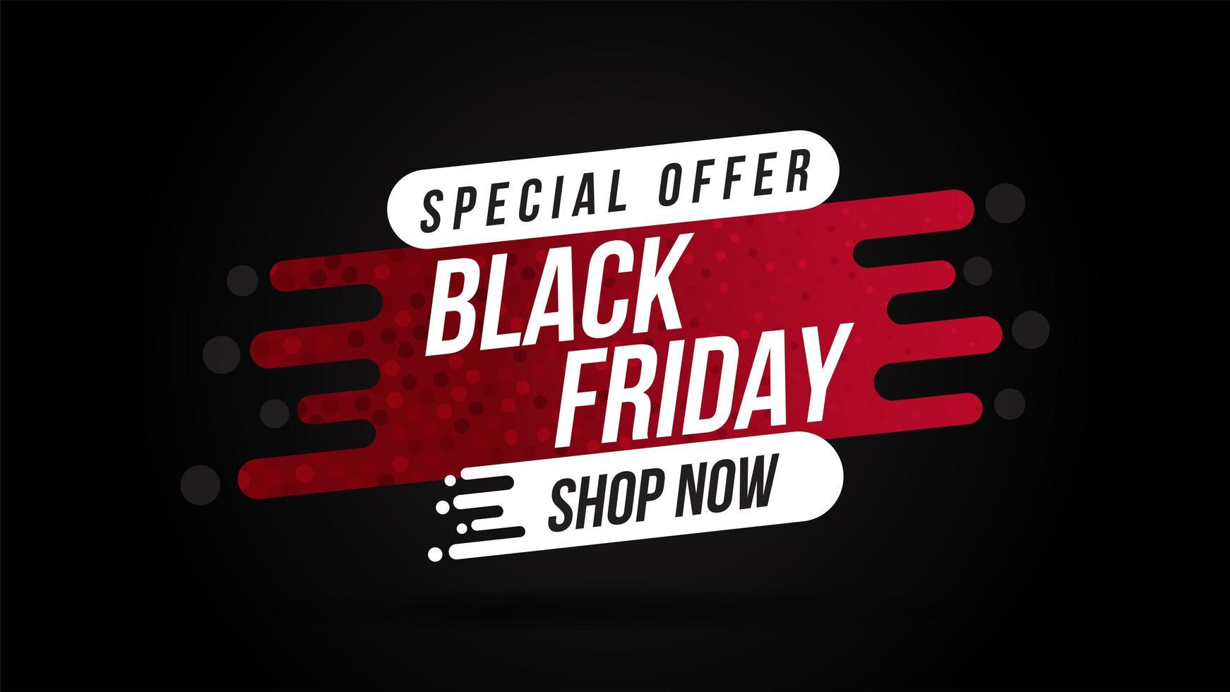 banner di vendita venerdì nero in rosso e nero vettore
