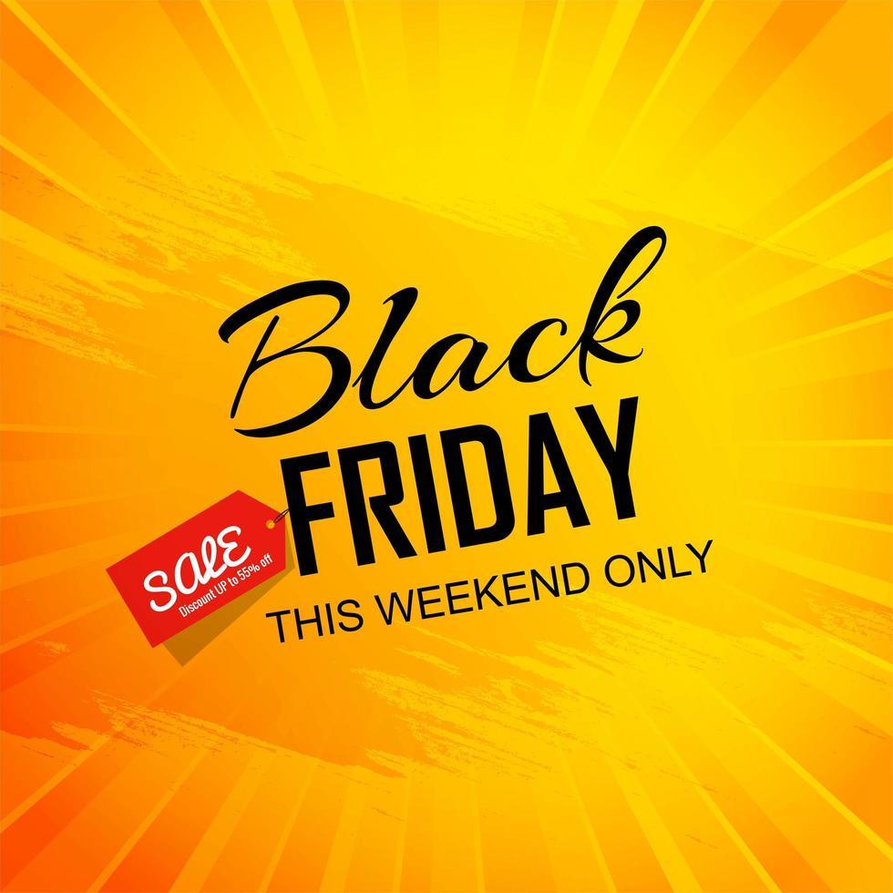 poster di vendita venerdì nero arancione e giallo brillante vettore