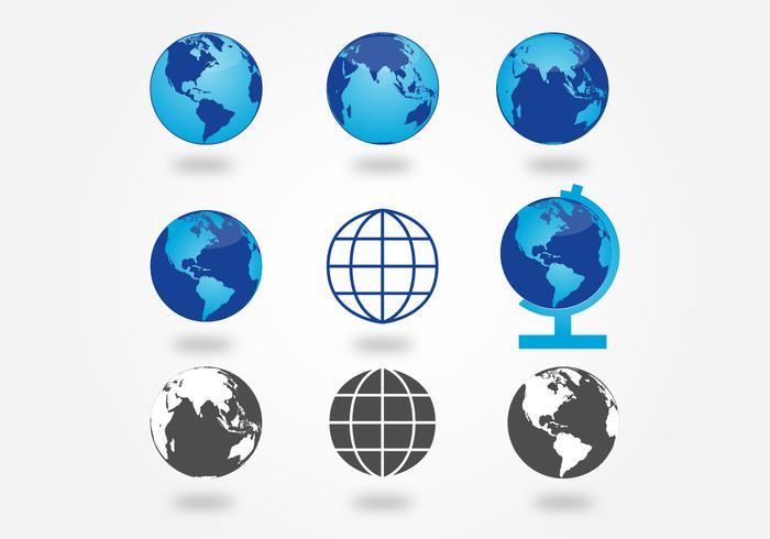 Insieme di vettore di nove apparenze del globo