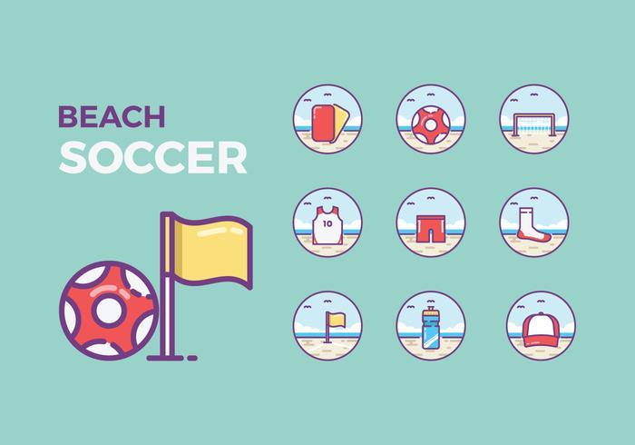 Icone di beach soccer gratis vettore