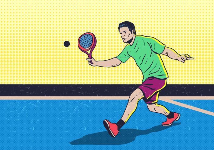 uomo che gioca a padel tennis vettore