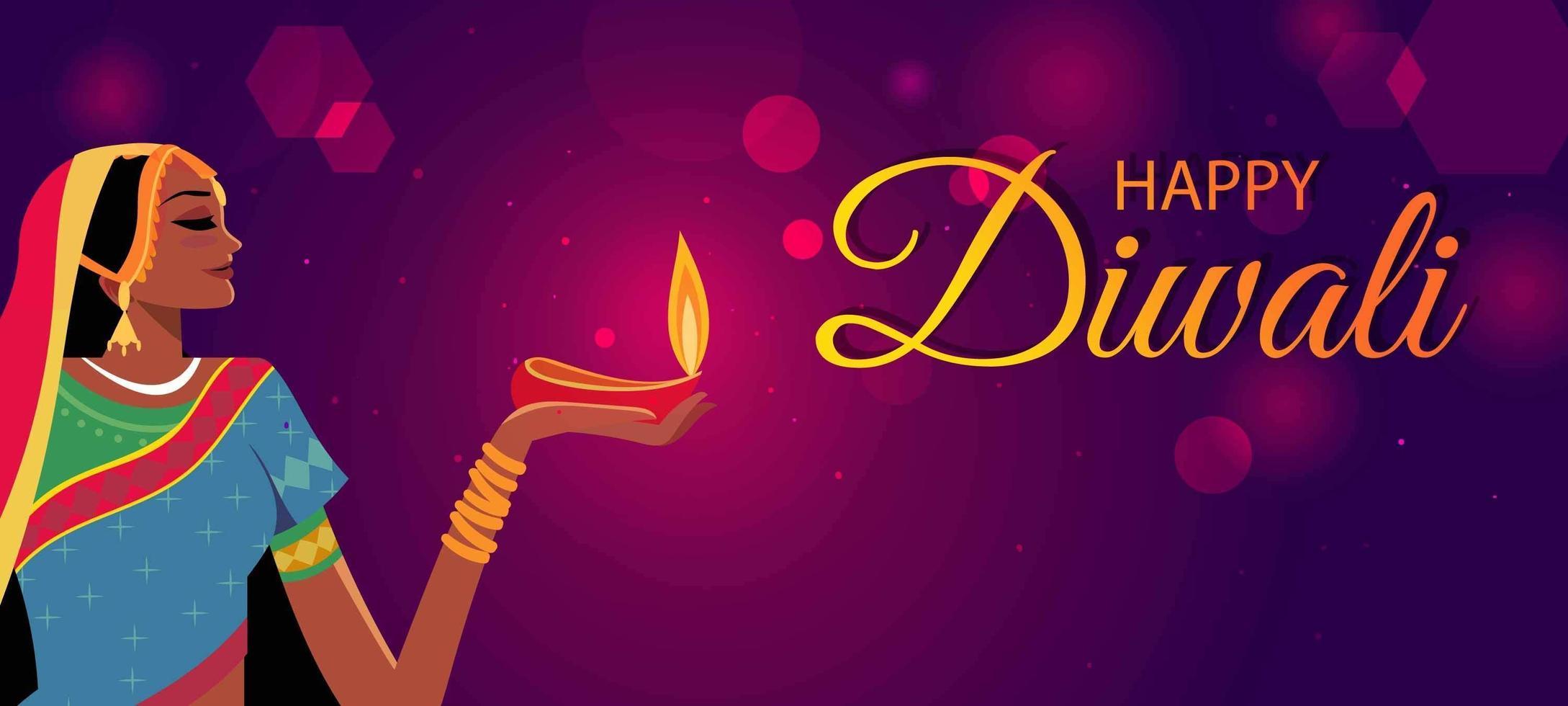 donne che celebrano il diwali vettore