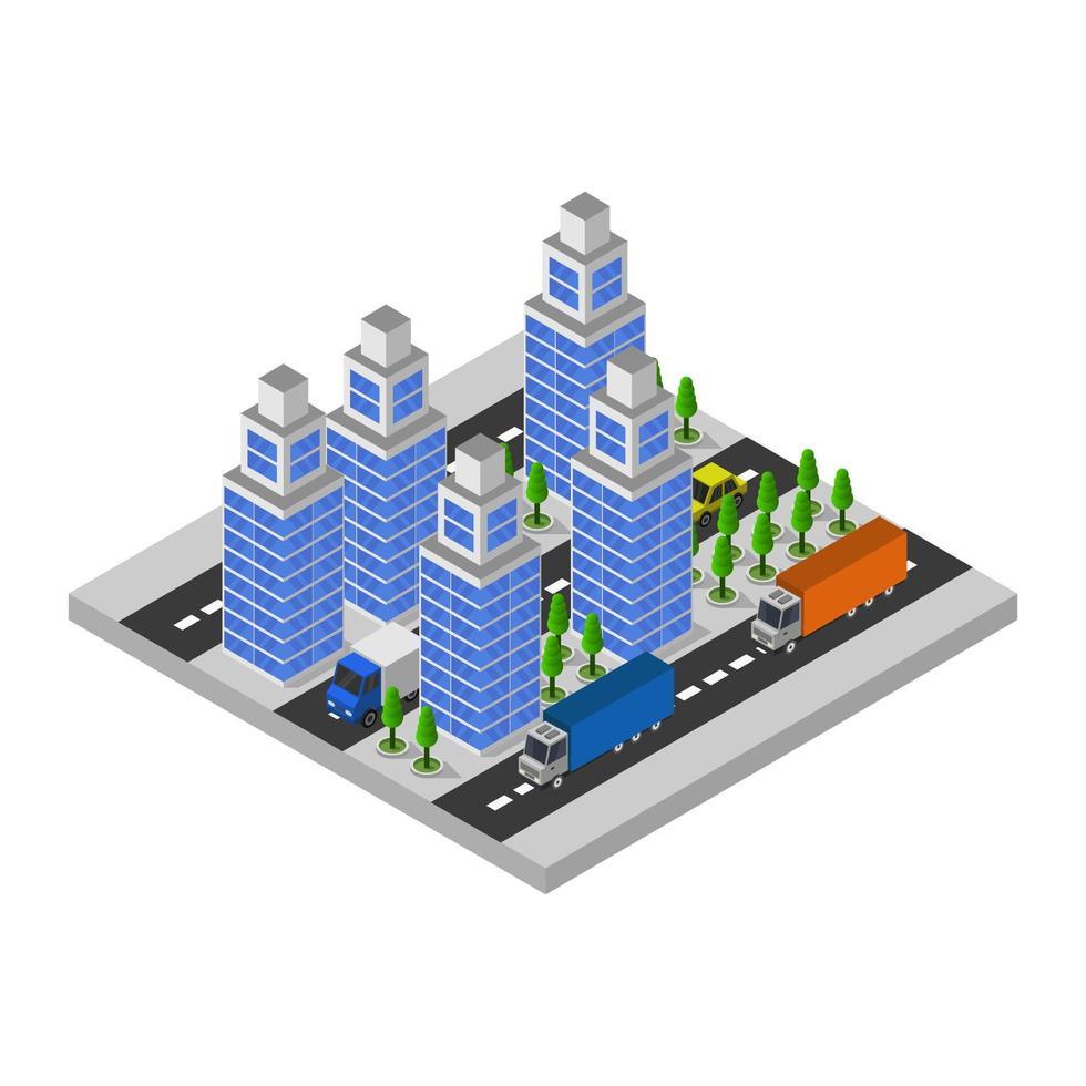 città isometrica su sfondo bianco vettore