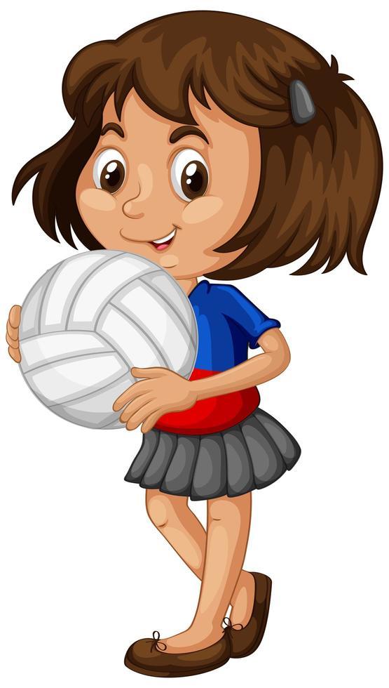 giovane ragazza con una pallavolo vettore