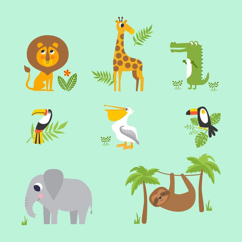 una collezione di animali africani dei cartoni animati vettore