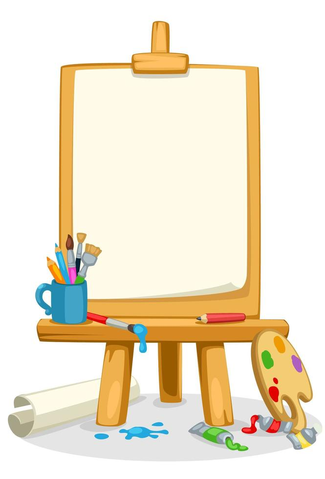 cavalletto artistico con colori, pennelli e tavolozza dei colori vettore