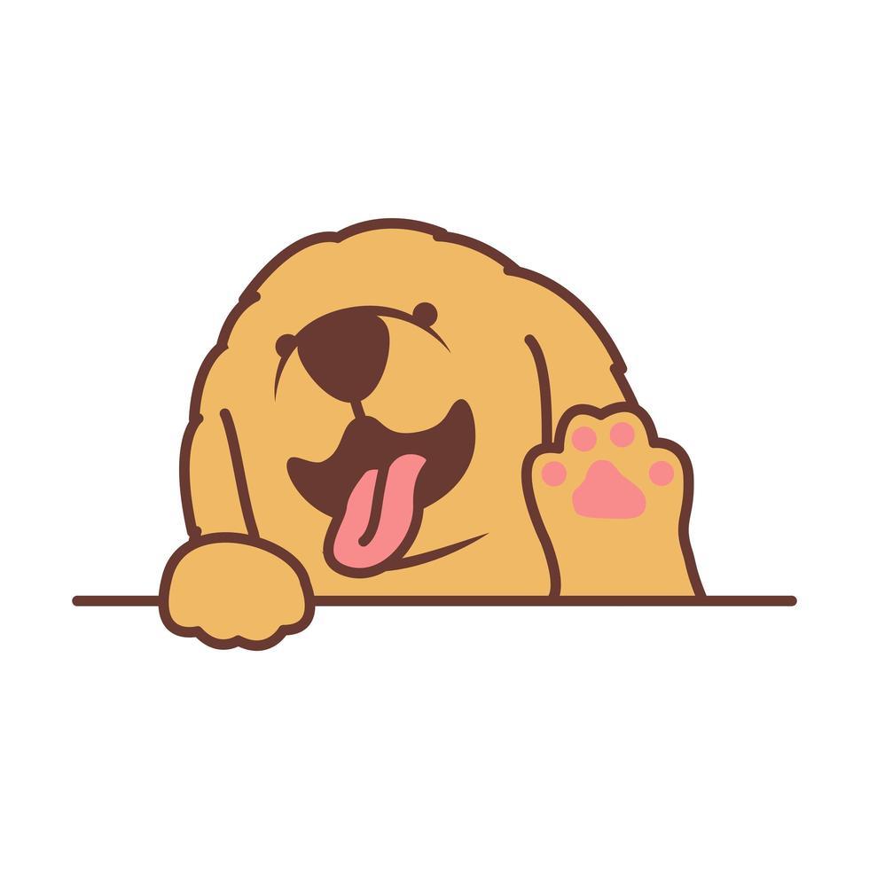 simpatico cucciolo di golden retriever agitando la zampa del fumetto vettore