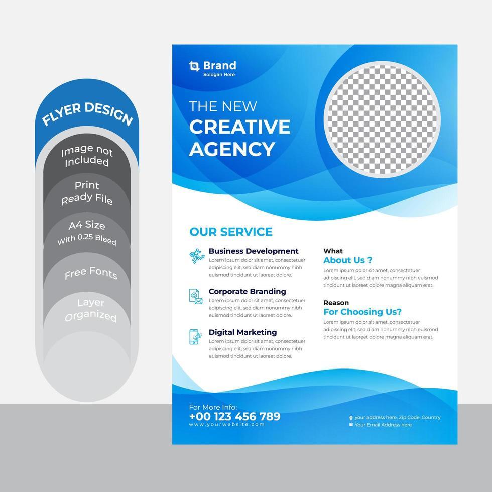 modello di volantino aziendale blu e bianco creativo vettore