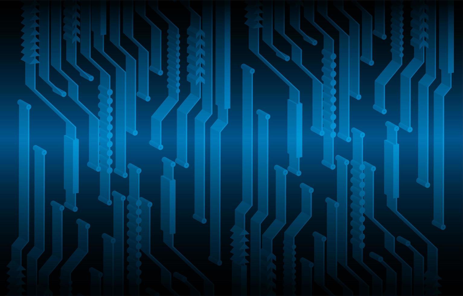 fondo blu di concetto di tecnologia del circuito cyber 3d blu vettore