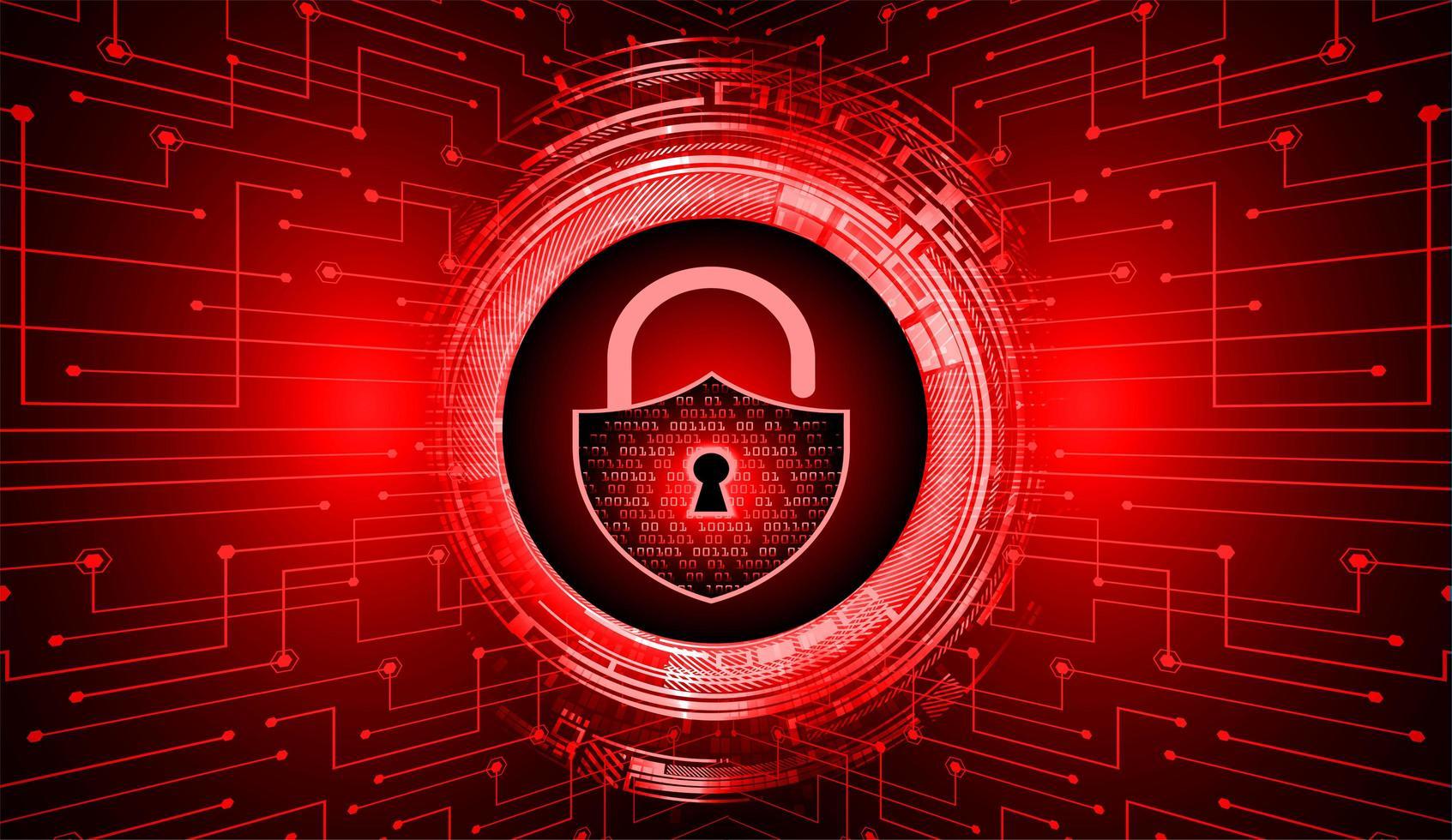 lucchetto chiuso su sfondo digitale rosso vettore