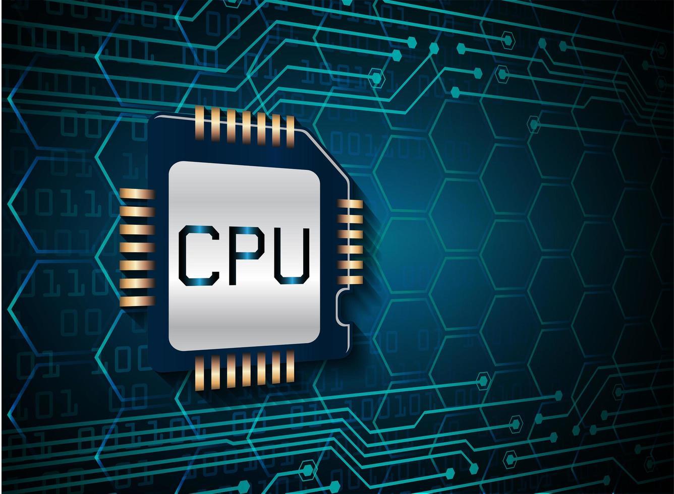 sfondo blu cpu circuito cyber concetto vettore