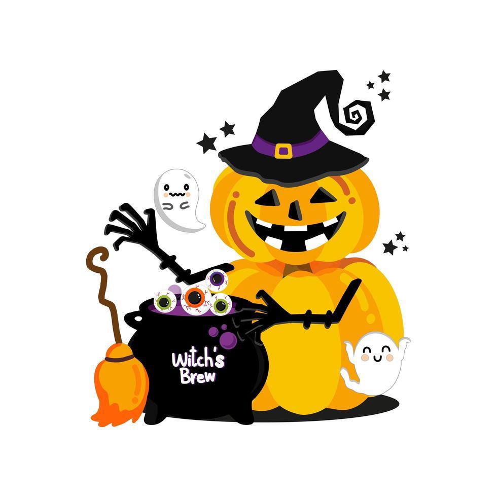 disegno della strega della zucca di Halloween vettore