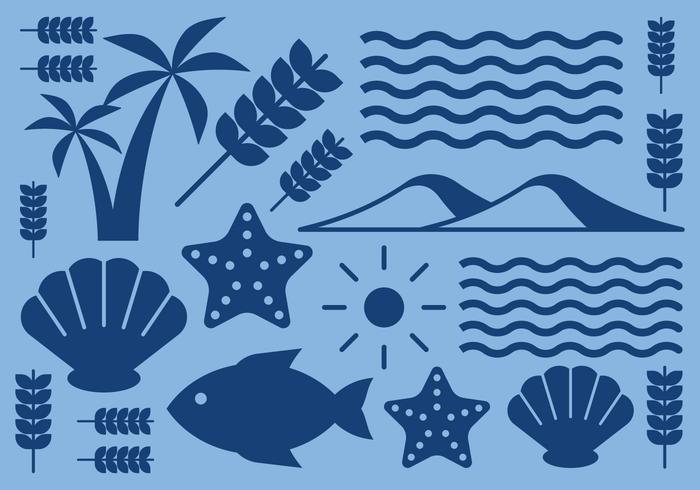 Icone di natura spiaggia vettore