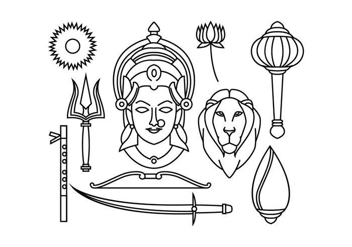 Durga Vectro gratuito vettore