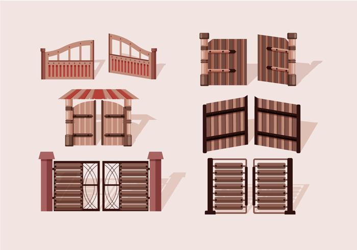 Aprire il cancello in legno vettoriale