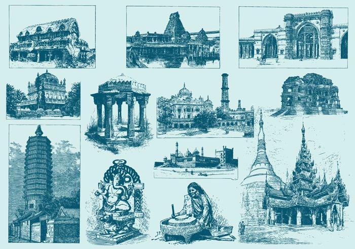 Illustrazioni di blu India vettore