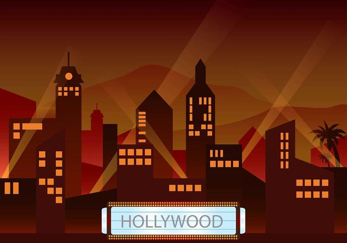 Vettore di ambiente di luce crepuscolare di Hollywood