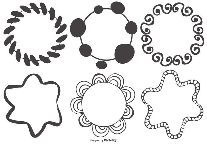 Collezione disordinato Disegnato a mano forme cornice vettore